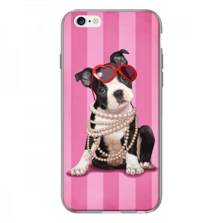 Coque iPhone 6 et 6S Chien Dog Fashion Collier Perles Lunettes Coeur - Maryline Cazenave