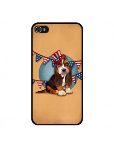 Coque Chien Dog USA Americain pour iPhone 4 et 4S - Maryline Cazenave