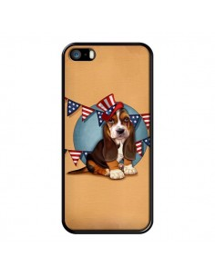 Coque Chien Dog USA Americain pour iPhone 5 et 5S - Maryline Cazenave