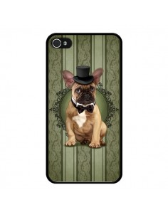 Coque Chien Dog Bulldog Noeud Papillon Chapeau pour iPhone 4 et 4S - Maryline Cazenave