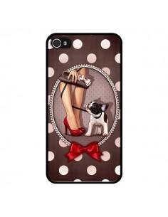 Coque Lady Jambes Chien Dog Pois Noeud papillon pour iPhone 4 et 4S - Maryline Cazenave