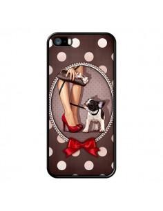 Coque Lady Jambes Chien Dog Pois Noeud papillon pour iPhone 5 et 5S - Maryline Cazenave