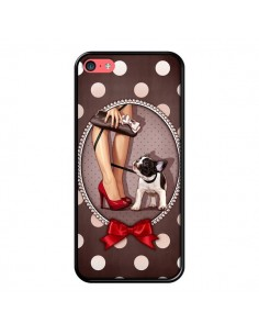 Coque Lady Jambes Chien Dog Pois Noeud papillon pour iPhone 5C - Maryline Cazenave