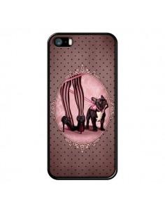 Coque Lady Jambes Chien Dog Rose Pois Noir pour iPhone 5 et 5S - Maryline Cazenave