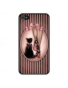 Coque Lady Chat Noeud Papillon Pois Chaussures pour iPhone 4 et 4S - Maryline Cazenave