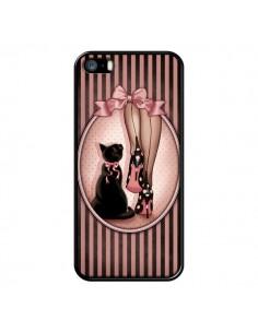 Coque Lady Chat Noeud Papillon Pois Chaussures pour iPhone 5 et 5S - Maryline Cazenave