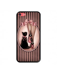 Coque Lady Chat Noeud Papillon Pois Chaussures pour iPhone 5C - Maryline Cazenave