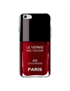 Coque Vernis Paris Lotus Rouge pour iPhone 6 Plus - Laetitia
