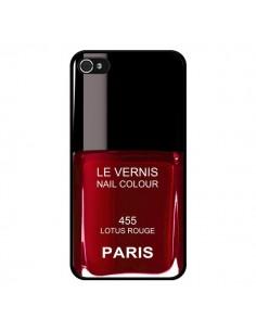 Coque Vernis Paris Lotus Rouge pour iPhone 4 et 4S - Laetitia