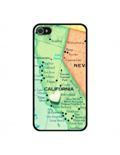 Coque Carte Map Californie pour iPhone 4 et 4S - R Delean