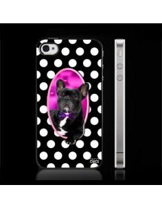 Coque Bulldog en Relief à Pois Noir pour iPhone 4/4S