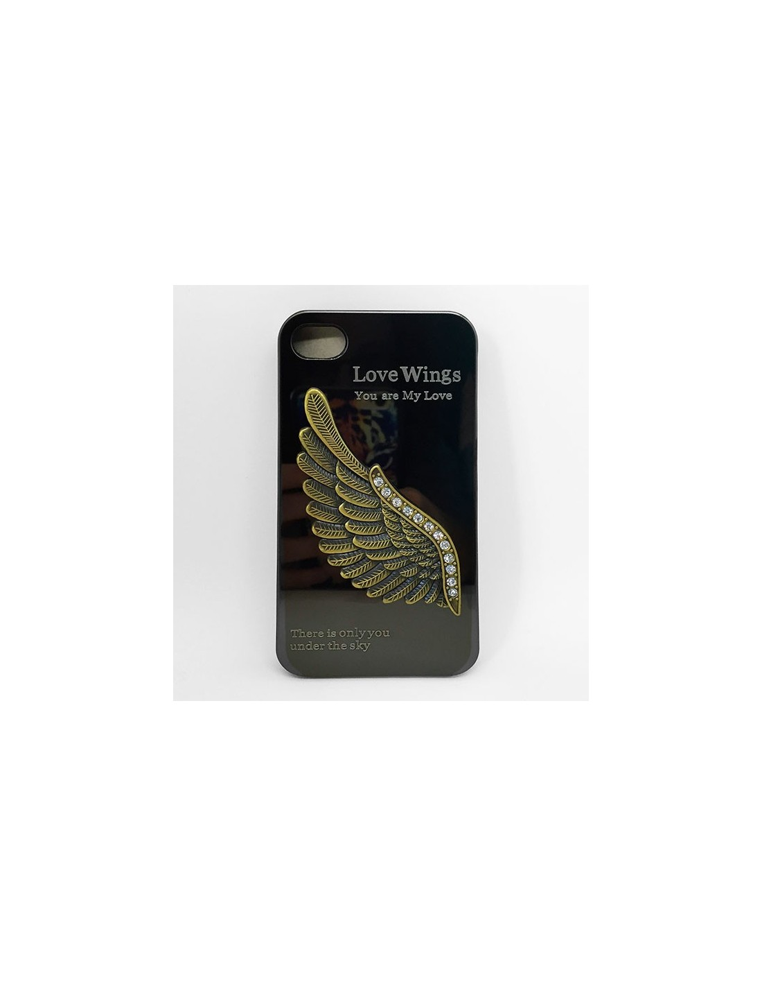 coque ailes d 39 ange strass miroir pour iphone 4 4s. Black Bedroom Furniture Sets. Home Design Ideas
