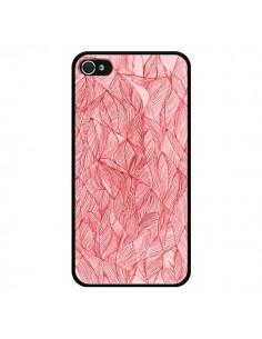Coque Courbes Meandre Rouge Cerise pour iPhone 4 et 4S - Elsa Lambinet
