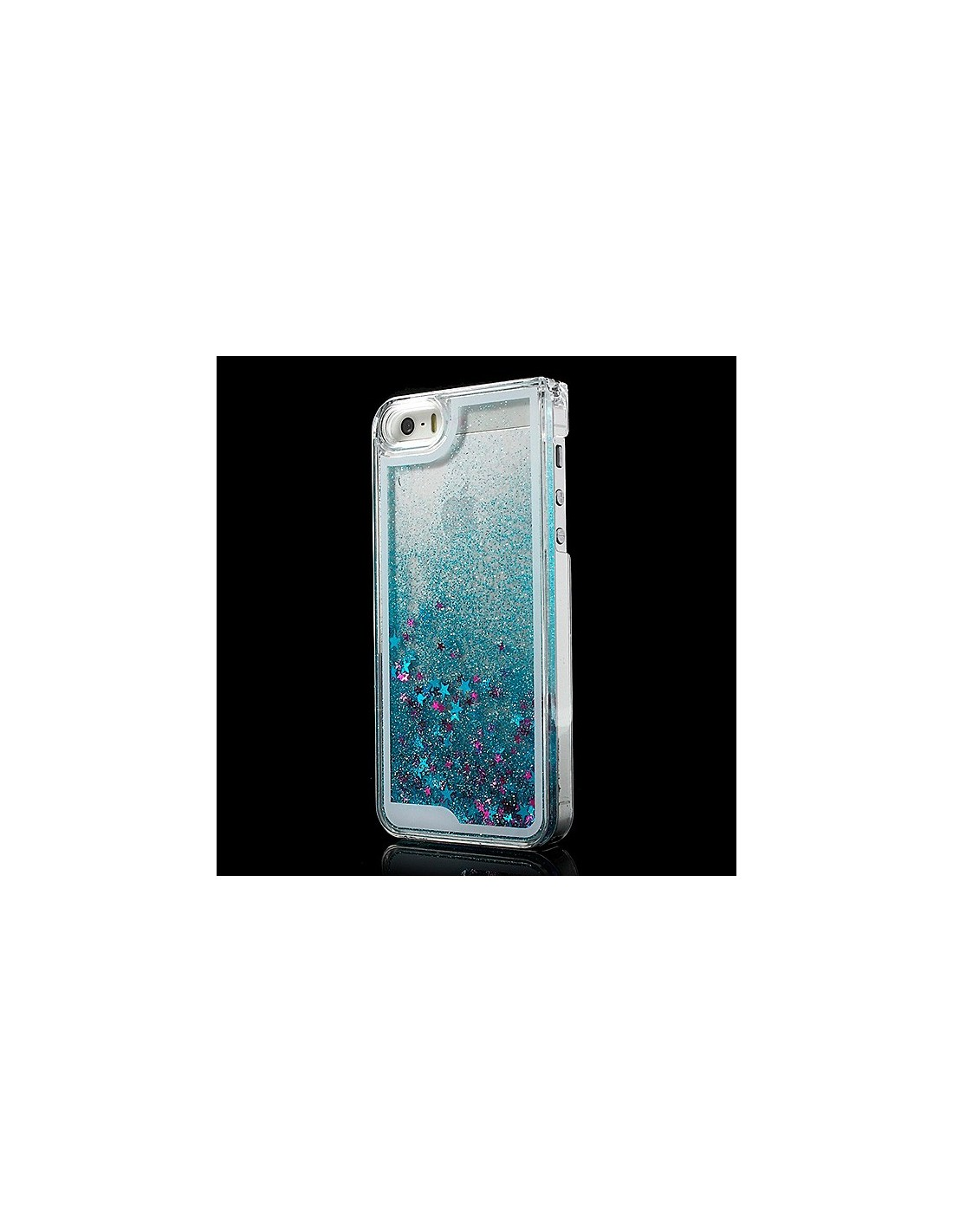 coque liquide avec paillettes et etoiles bleu pour iphone 5 5s. Black Bedroom Furniture Sets. Home Design Ideas
