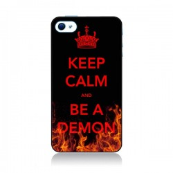 Coque Keep Calm and Be A Demon pour iPhone 4 et 4S - Nico