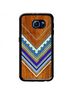 Coque Azteque Arbutus Blue Bois Aztec Tribal pour Samsung Galaxy S6 - Jenny Mhairi