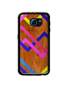 Coque Pink Yellow Wooden Bois Azteque Aztec Tribal pour Samsung Galaxy S6 - Jenny Mhairi