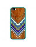 Coque Azteque Arbutus Blue Bois Aztec Tribal pour iPhone 5 et 5S - Jenny Mhairi