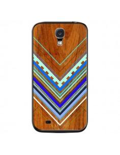 Coque Azteque Arbutus Blue Bois Aztec Tribal pour Samsung Galaxy S4 - Jenny Mhairi