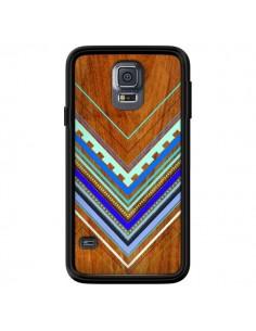 Coque Azteque Arbutus Blue Bois Aztec Tribal pour Samsung Galaxy S5 - Jenny Mhairi