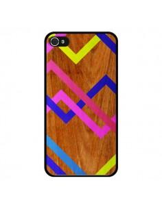 Coque Pink Yellow Wooden Bois Azteque Aztec Tribal pour iPhone 4 et 4S - Jenny Mhairi