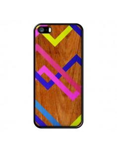 Coque Pink Yellow Wooden Bois Azteque Aztec Tribal pour iPhone 5 et 5S - Jenny Mhairi
