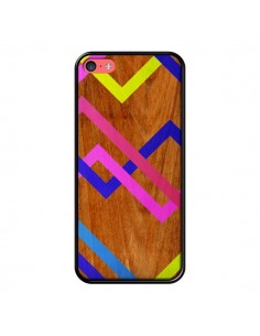 Coque Pink Yellow Wooden Bois Azteque Aztec Tribal pour iPhone 5C - Jenny Mhairi