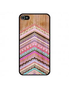 Coque Purple Chevron Wild Wood Bois Azteque Aztec Tribal pour iPhone 4 et 4S - Jenny Mhairi