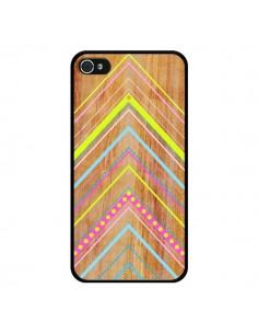 Coque Wooden Chevron Pink Bois Azteque Aztec Tribal pour iPhone 4 et 4S - Jenny Mhairi