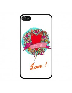 Coque Love Happy Life pour iPhone 4 et 4S - Leellouebrigitte