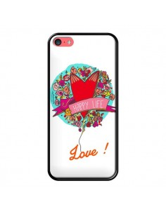 Coque Love Happy Life pour iPhone 5C - Leellouebrigitte