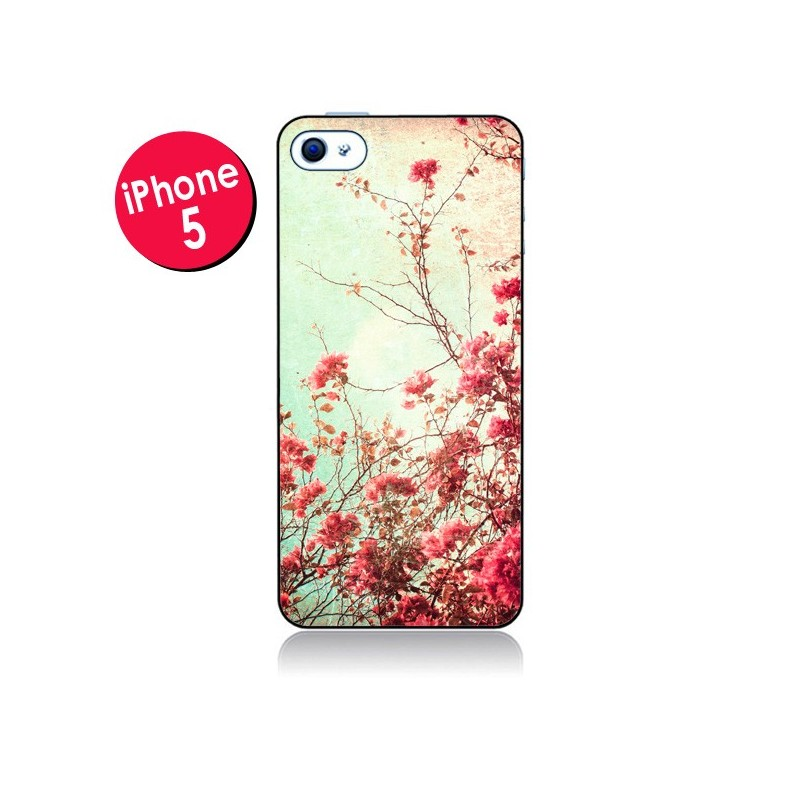 Coque Fleur Vintage Rose pour iPhone 5