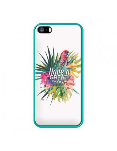 Coque iPhone 5/5S et SE Have a great summer Ete Perroquet Parrot - Eleaxart