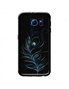 Coque Feather Plume Noir Bleu pour Samsung Galaxy S6 - LouJah