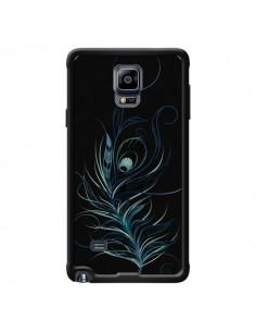 Coque Feather Plume Noir Bleu pour Samsung Galaxy Note 4 - LouJah