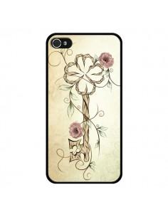 Coque Key Lucky Clef Flower pour iPhone 4 et 4S - LouJah