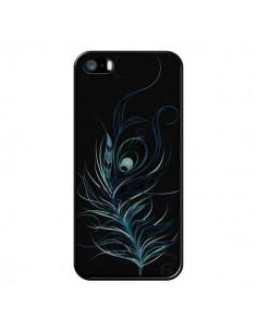 Coque Feather Plume Noir Bleu pour iPhone 5 et 5S - LouJah