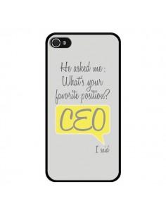 Coque iPhone 4 et 4S What's your favorite position CEO I said, jaune - Shop Gasoline
