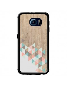 Coque Wood Bois Azteque Triangles Archiwoo pour Samsung Galaxy S6 - Pura Vida