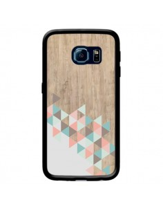 Coque Wood Bois Azteque Triangles Archiwoo pour Samsung Galaxy S6 Edge - Pura Vida
