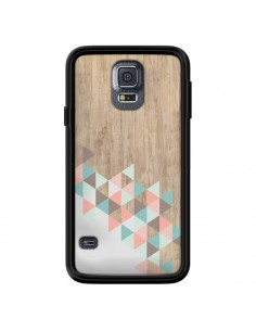 Coque Wood Bois Azteque Triangles Archiwoo pour Samsung Galaxy S5 - Pura Vida
