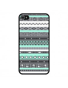 Coque iPhone 4 et 4S Azteque Aztec Bleu Pastel - Rex Lambo