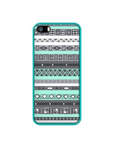 Coque iPhone 5/5S et SE Azteque Aztec Bleu Pastel - Rex Lambo
