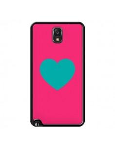 Coque Coeur Bleu Fond Rose pour Samsung Galaxy Note III - Laetitia