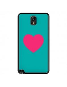 Coque Coeur Rose Fond Bleu pour Samsung Galaxy Note III - Laetitia