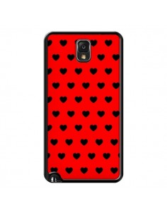 Coque Coeurs Noirs Fond Rouge pour Samsung Galaxy Note III - Laetitia