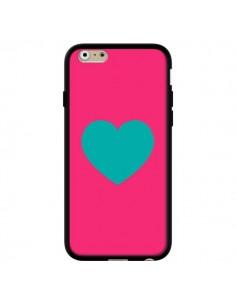 Coque Coeur Bleu Fond Rose pour iPhone 6 et 6S - Laetitia