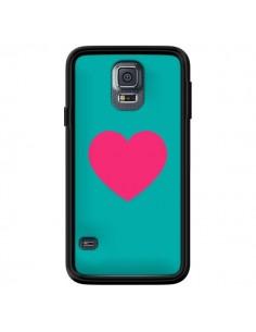 Coque Coeur Rose Fond Bleu pour Samsung Galaxy S5 - Laetitia