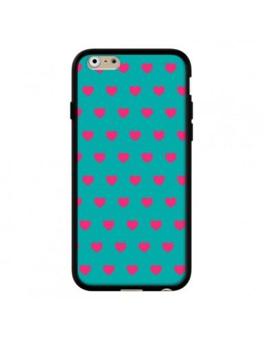 Coque Coeurs Roses Fond Bleu pour iPhone 6 et 6S - Laetitia