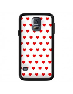 Coque Coeurs Rouges Fond Blanc pour Samsung Galaxy S5 - Laetitia